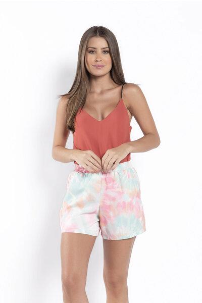 Shorts tie dye forrado elastico na cintura