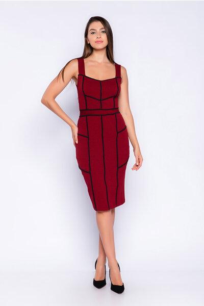 Vestido jacquard recortes