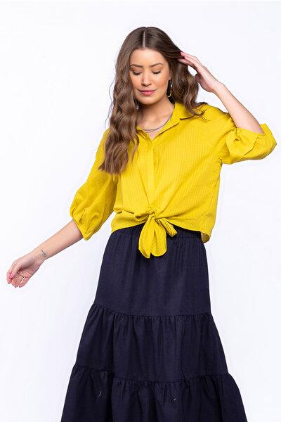 Camisa algodão voil com amarração