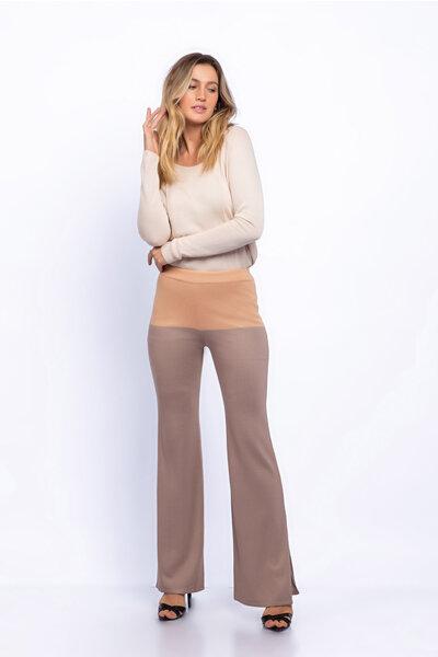 Calça tricot pantalona bicolor