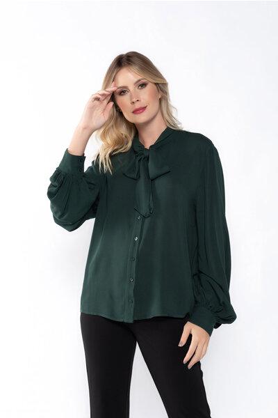 Camisa viscose lisa manga bufante com faixa para amarração
