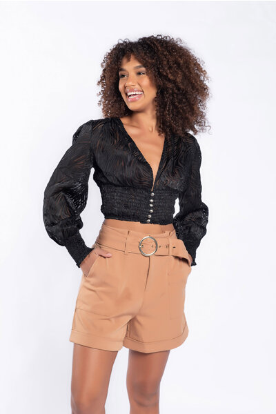 Blusa cropped lastex cintura e manga