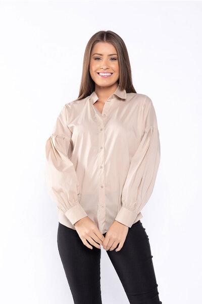 Camisa manga bufante em tricoline slim