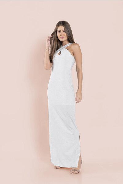 Vestido longo lurex decote fenda lateral