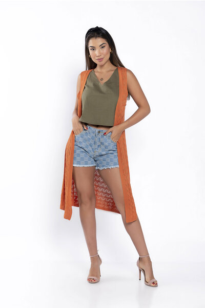 Colete tricot alongado ponto zig zag
