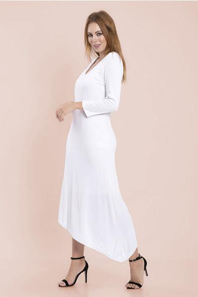 Vestido longo malha assimetrico manga 3/4 com forro