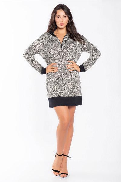 Vestido tricot mesclado estampado