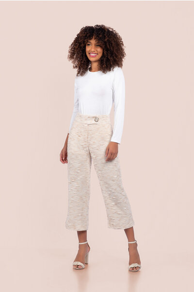 Calça pantacourt tricot