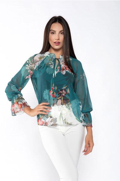 Blusa manga longa estampada detalhe elastico punho