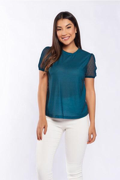 Camiseta algodão com detalhe chiffon plissado