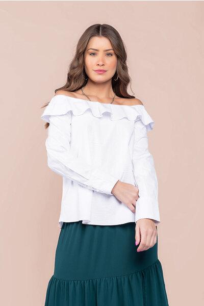 Blusa em tricoline e algodão ombro a ombro e babado