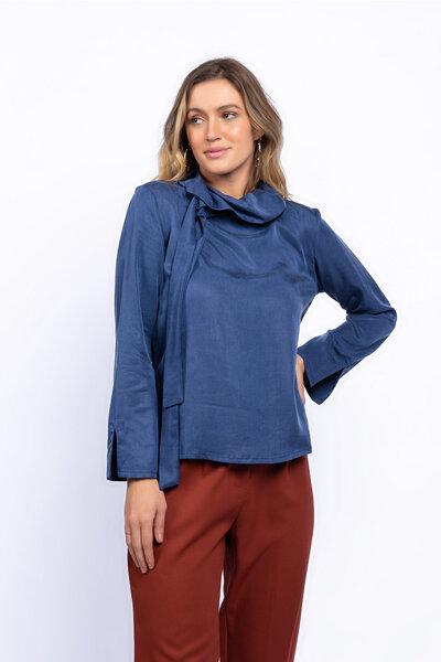 Blusa liocel manga longa fenda no punho