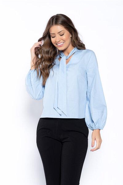 Camisa algodao com amarracao e elastico no punho