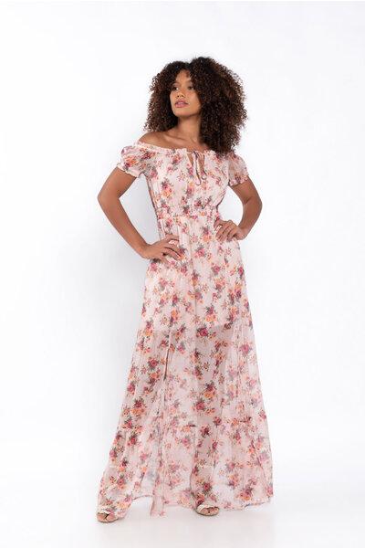 Vestido longo estampa floral fenda lastex na cintura