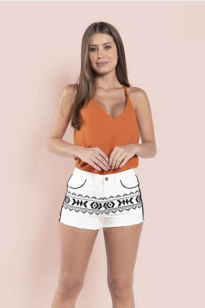 Shorts bordado etnicos com bolsos