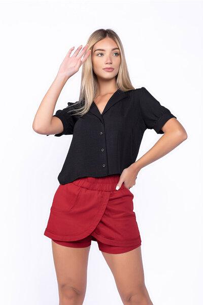 Short saia linho com elastico no cos