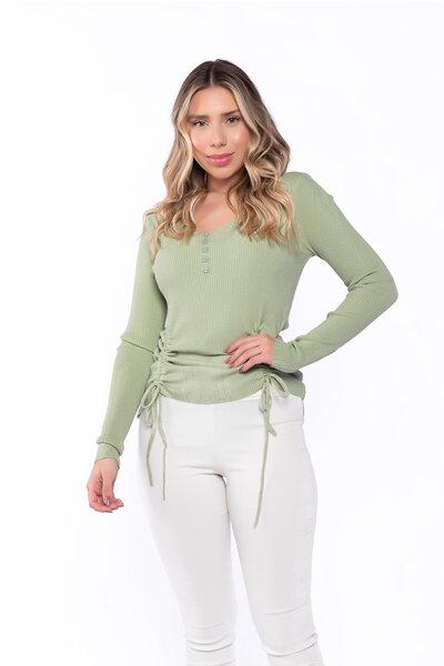 Blusa tricot canelada decote v com amarração