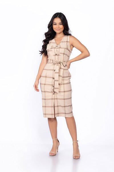 Vestido algodao xadrez decote v