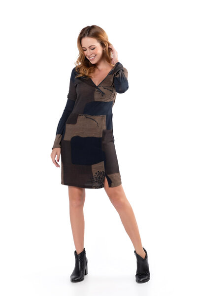 Vestido decote transpassado malha manga sino