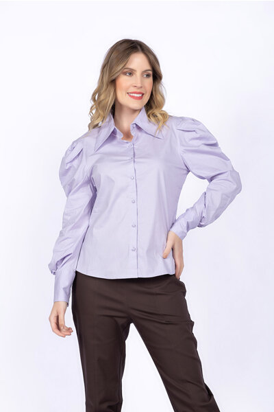 Camisa tricoline manga bufante