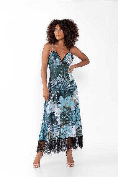Vestido longo estampado com alcinha em chiffon e tule