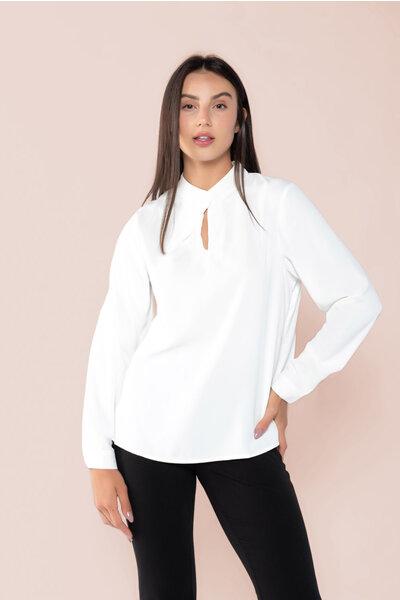 Blusa manga longa detalhe recorte em gota