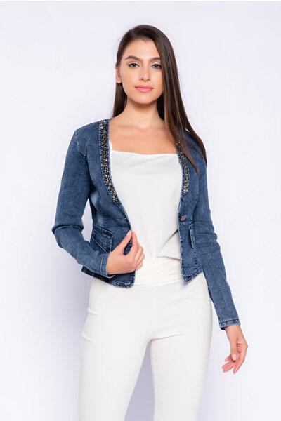 Jaqueta jeans com strass