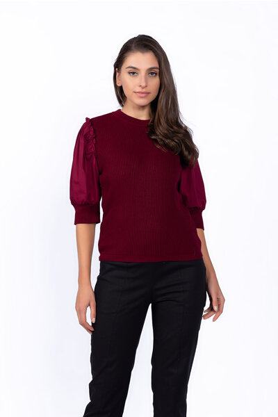Blusa tricot manga tricoline bufante