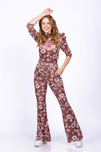 Conjunto blusa manga princesa calça plush floral
