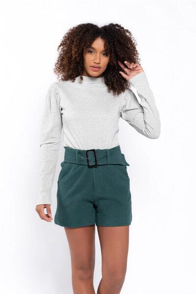Shorts tweed com bolso e cinto