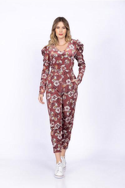 Conjunto blusa capuz calça estampa floral aveludada