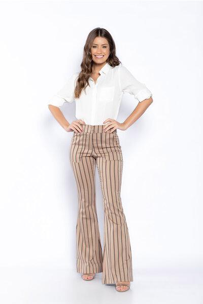 Calça sarja listrada cintura alta