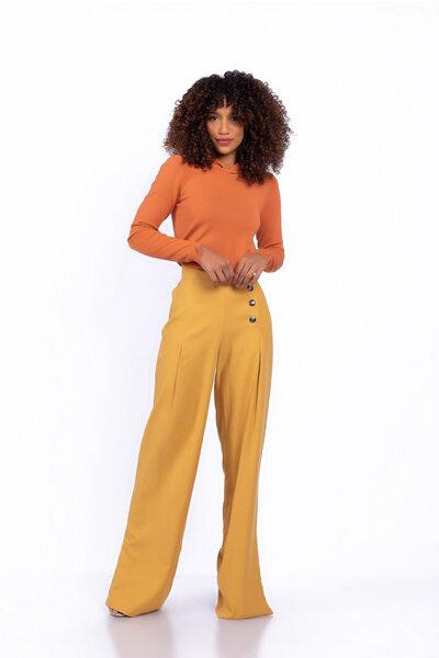 Calça linho pantalona fendas laterais