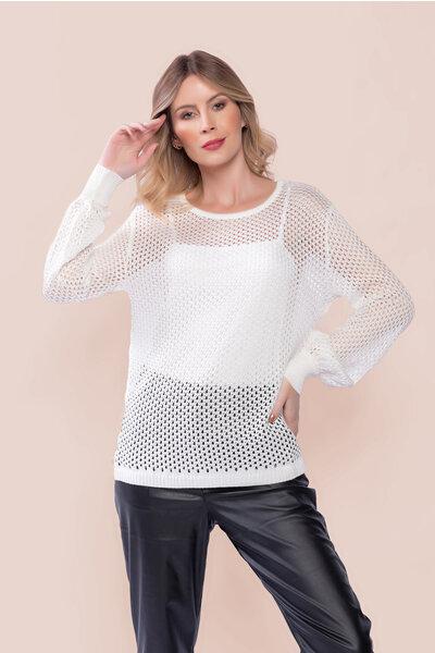 Blusa tricot ampla manga longa