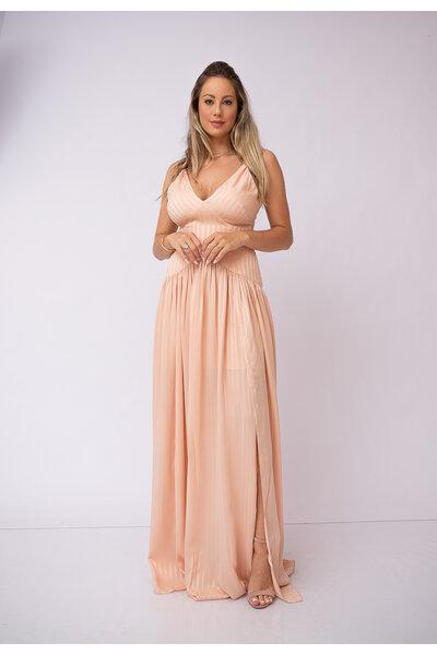 Vestido longo alca fina decote ve com fenda