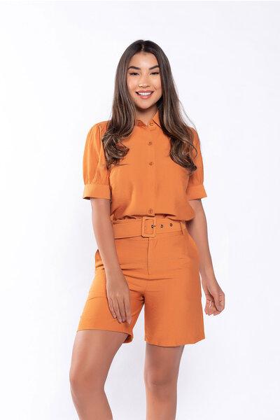 Conjunto camisa e shorts em viscose rust