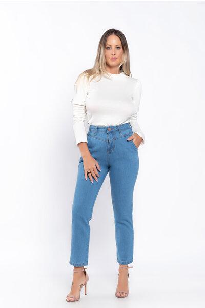 Calca jeans bolso faca