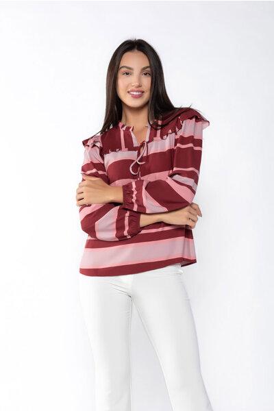 Blusa viscose listrada manga longa