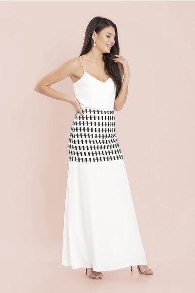 Vestido longo saia bordado p&b