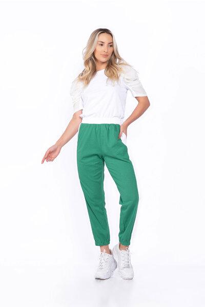 Calça moletinho elástico cintura bicolor