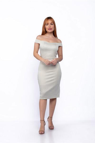 Vestido curto malha lurex ombro a ombro