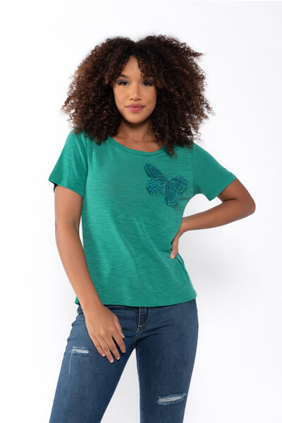 Blusa t-shirt malha aviamento borboleta