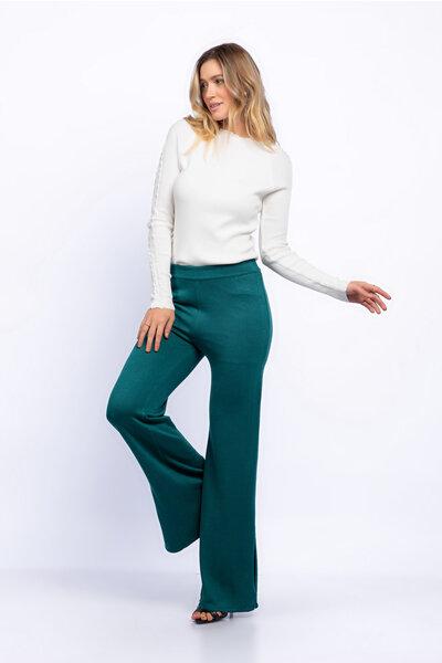 Calça pantalona tricot lisa com fenda