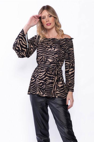 Blusa estampada de zebra ombro a ombro e manga flare