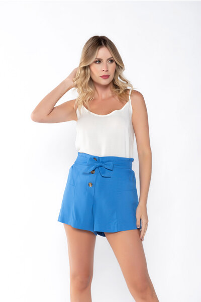 Shorts twill cos alto lastex nas costas