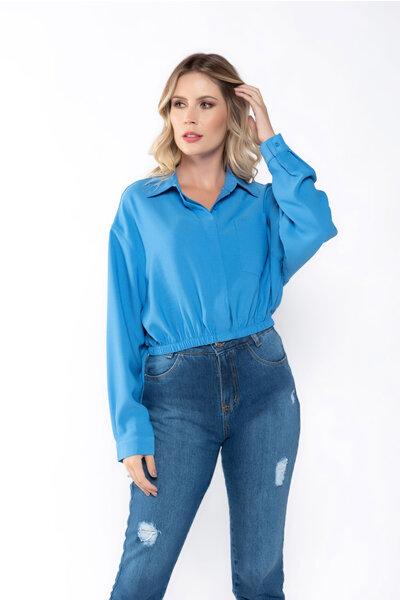 Camisa cropped crepe com elastico