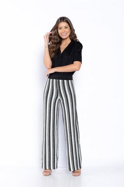 Calça pantalona tricot lurex