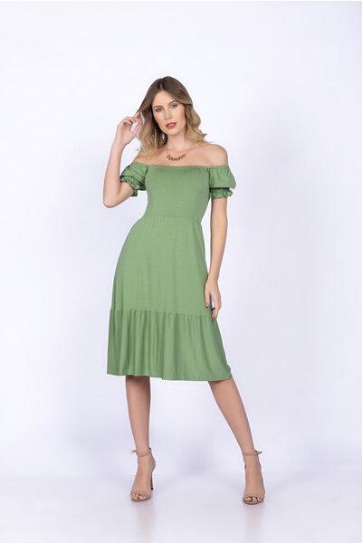 Vestido malha elastex costas e manga