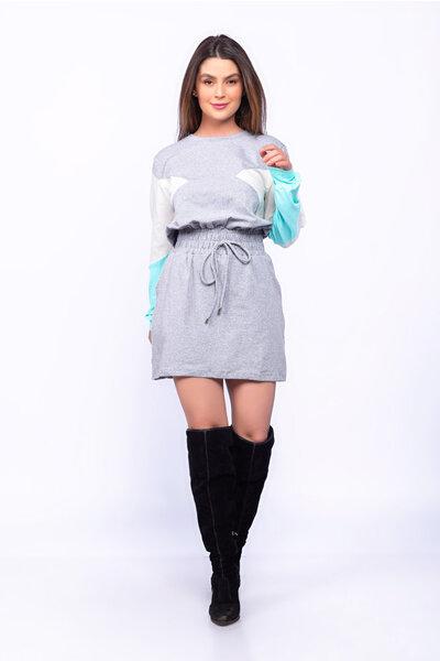 Vestido moletom manga longa lastex cintura