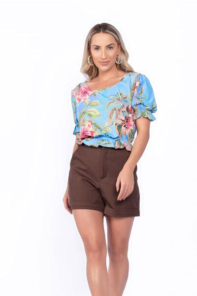 Blusa malha fria floral lastex cintura e manga